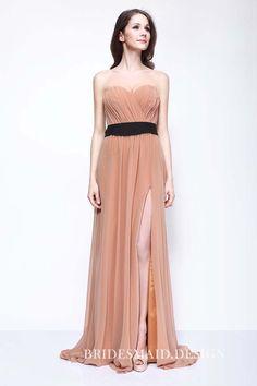 6f3a32c0ba4 Celebrity Style Strapless Sweetheart Slit Long Nude Chiffon Bridesmaid Dress.  Dresses ...