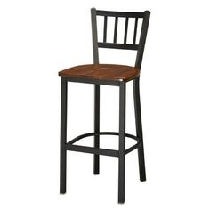 "Regal Bar Stool Upholstery: Dark Walnut Wood, Finish: Anodized Nickel, Seat Height: 26"""