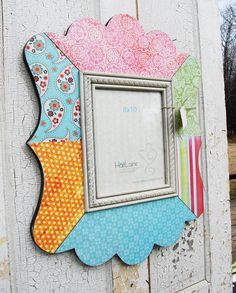 8x10 Decoupage Scalloped Picture Frame  Pinks Blues by HartLaine, $119.00