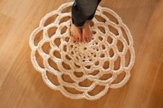 A unique wedding gift for the bride and groom: doily rug! If you love doilies as much as we do, you'll want a doily rug for your home, too! Crochet Doily Rug, Cute Crochet, Crochet Yarn, Easy Crochet, Crochet Patterns, Crochet Flower, Chunky Crochet, Knitting Projects, Crochet Projects