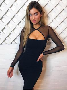 6b5e0fdadc8 Sexy Dress Club Wear Long Sleeve Bodycon Dress