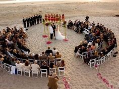 Arrange chairs in a circle so that you can really be surrounded by loved ones as you get married! #weddingceremony