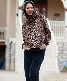 Another great find on #zulily! Brown & Cream Leopard Hoodie - Plus Too #zulilyfinds