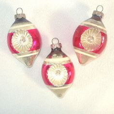 Shiny Brite Red Stripe Double Indent Christmas Ornaments