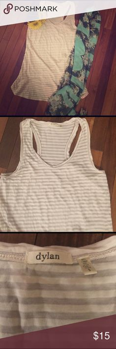 """Dylan by True Grit Top Size Small Grey and white stripes racer back long tank.  Dylan by True Grit .  Very cute with leggings .  Armpit to hem measures 19.5"""".  20% discount on bundles of 2 or more . Tops Tank Tops"""