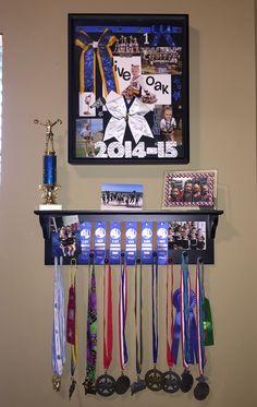 Cheer medals, cheer shadow box, cheer display, cheer bows