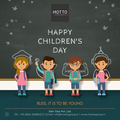 Bliss, it is to be young Happy Children's Day. House Tiles, Wall Tiles, Children's Day Wishes, Happy Children's Day, National Days, Child Day, Layout Design, Interior Decorating, Wall Decor