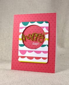 August Color Play - Happy Day! Card by Lizzie Jones for Papertrey Ink (August 2014)