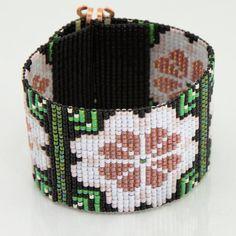 Peach Rose Boho Bead Loom Bracelet Artisanal by PuebloAndCo