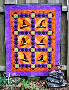 Witch Hats quilt by Quilted Delights: 2013 Wicked Blog Hop