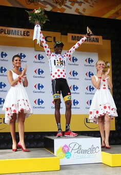 #DanielTeklehaimanot of #Eritrea & #MTNQhubeka retains the #polkadotjersey following stage nine of the 2015 Tour de France, a 28km team time trial!