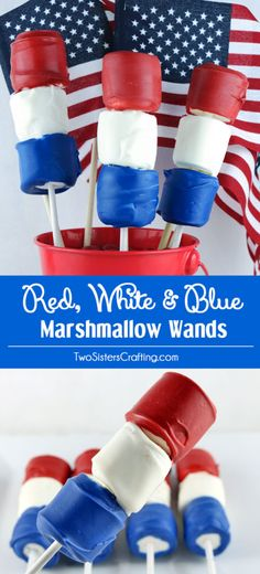 Looking for unique and delicious of July treats for a party? How about Red White and Blue Marshmallow Wands? So easy to make and you wont believe how delicious they are. They would be a fun dessert for a of July Party, a Memorial Day BBQ or even an Patriotic Desserts, 4th Of July Desserts, Fourth Of July Food, Patriotic Party, 4th Of July Party, July 4th, Patriotic Crafts, Patriotic Decorations, Oreo Dessert