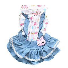 Cat / Dog Dress Blue / Light Blue Dog Clothes Spring/Fall Jeans Fashion