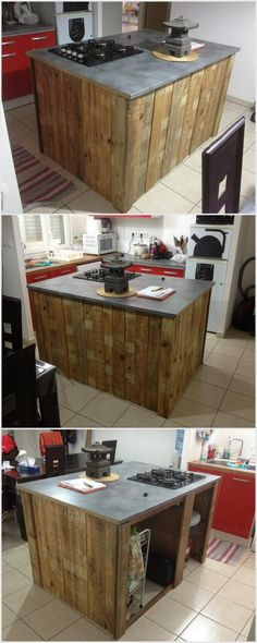 Recycled Wood Pallet Kitchen Island