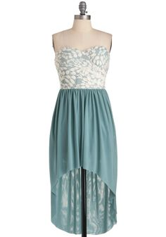 Ice Flow Dress - Short, Formal, Green, White, Lace, Wedding, Party, Strapless