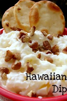 Hawaiian dip: Cream cheese, coconut & pineapple.  Try with vanilla wafers 8 oz. cream cheese softened 2 1/2 cups sweetened coconut (I prefer flaked over shredded) 20 oz. can pineapple (chunks or crushed) nuts or cherries to top dip with    Blend all ingredients together in food processor to crush up pineapple and coconut pieces. Refrigerate at least 30 minutes before serving.