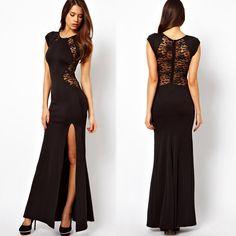 Women Summer Fashion Party Star Short Sleeve Sexy Black Long Novelty Dress