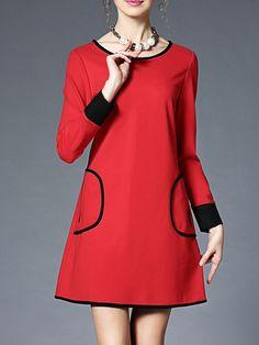 #AdoreWe StyleWe Mini Dresses - AOFULI Red Pockets Long Sleeve Color-block Mini Dress - AdoreWe.com