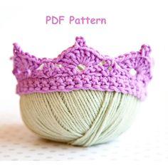 baby crown, baby photo prop, baby tiara, beginner crochet pattern, crochet baby crown pattern, easy crochet pattern, newborn crown, prince c...