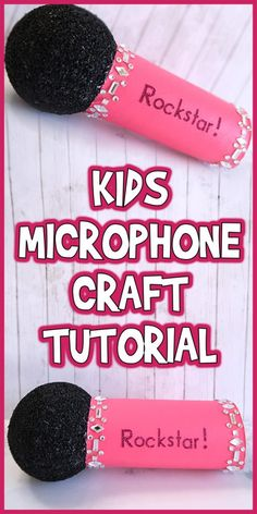 Kids Microphone Craft Tutorial is part of Kids Crafts Birthday Tutorials - Today I'm sharing this Kids Microphone Craft Tutorial that's fun to make and can easily be customized with your kid's name and favorite colors! Summer Camp Crafts, Camping Crafts, Preschool Crafts, Crafts For Kids, Craft Kids, Music Crafts Kids, Cardboard Crafts Kids, Quick Crafts, Children Crafts