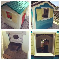 Little Tikes playhouse makeover. Chalkboard table inside.