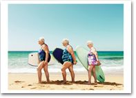 Surfing in the Pacific Ocean with my gal pals...  And if you're still doing this, more power to you girl
