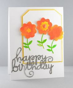 Card by SPARKS DT Lynn Mangan PS stamp dies: Happy Birthday Words, Quote Tag, Flowers