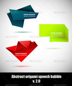 Abstract origami speech bubble. Set 2 $3.00
