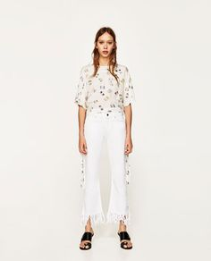 Image 1 of PRINTED BLOUSE WITH BOW from Zara