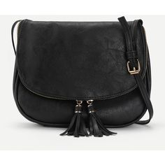 Double Tassel Flap PU Crossbody Bag (¥955) ❤ liked on Polyvore featuring bags, handbags, shoulder bags, shein, black, crossbody flap handbags, pu purse, flap purse, flap handbags and cross body
