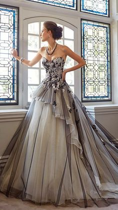 Sophia Tolli Fall 2014 Strapless Black and White Tulle Wedding Gown