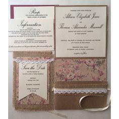 Burlap lace vintage shabby chic wedding invitations