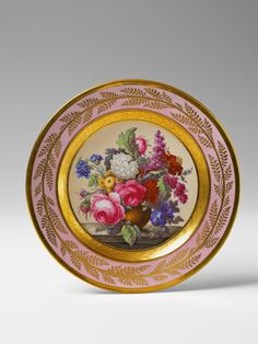 Königliche Porzellanmanufaktur Berlin, Ca. 1810.A Berlin KPM porcelain plate with a floral still life, Auction 1065 BERLIN Sale, Lot 152