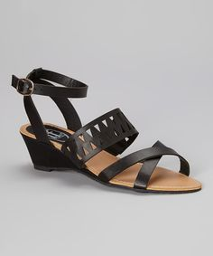 Look what I found on #zulily! Black Cutout Wedge Sandal by Carrini #zulilyfinds