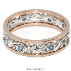 2 Tone eternity Band, Handmade Wedding Ring, Natural Aquamarine wedding band by BridalRings on Etsy https://www.etsy.com/listing/500204468/2-tone-eternity-band-handmade-wedding