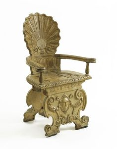 Armchair - Place of origin:England Circa Artist/Maker:Cleyn, Francis (probably, designer) The chair has a scallop-shell back based on the sgabello, an ornate form of hall chair widely used in Venice from about Antique Chairs, Antique Furniture, Vintage Chairs, Renaissance, Classical Interior Design, Victoria And Albert Museum, Garden Furniture, Art Decor, Carving