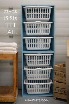 Diy laundry basket organizer. Place inside cupboard opposite laundry.