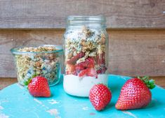 This breakfast parfait is easy to assemble, perfect for making the night before, and even easier to grab from the fridge on your way out the door. Breakfast Parfait, Sprout Recipes, Sprouts, Dairy Free, Berry, Mason Jars, Health, Food, No Dairy