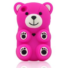 HOT Pink Adorable 3D Bear Soft Silicon Case Cover for iPod Touch 4 / 5 Gen(Color Optional)