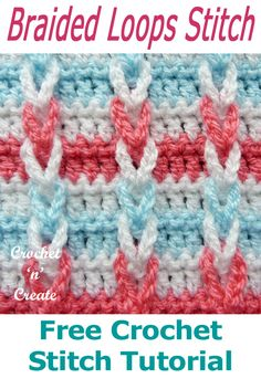 crochet stitches tutorial Braided loops free crochet stitch tutorial, ideal for cushions/pillow covers as well as blankets throws etc. it is easy to crochet with a textured pa Loop Stitch Crochet, Crochet Stitches Free, Crochet Blanket Patterns, Baby Blanket Crochet, Crochet Hooks, Free Crochet, Stitch Patterns, Knitting Patterns, Crochet Cushion Cover