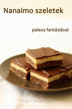 Pocak Panna : Nanaimo szeletek (paleo, nyers) Paleo Sweets, Raw Desserts, Paleo Dessert, Gluten Free Desserts, Healthy Desserts, Dessert Recipes, Sin Gluten, Winter Food, Food Porn
