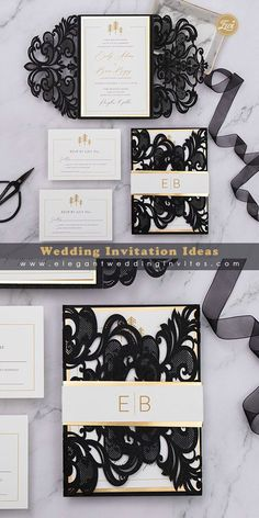Modern black and gold laser cut wedding invitation with gold mirror customized belly band EWDK015