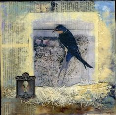 Mixed Media Collage Ideas | Encaustic art collage painting | Mixed media ideas