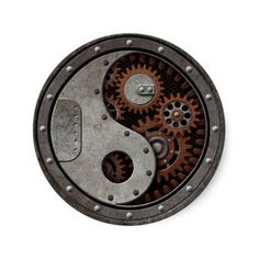 Steampunk Yin Yang Sticker