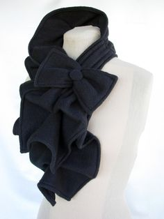 Ruffled Bow Scarf - MADE-TO-ORDER fleece - Many colors to choose from. $35.00, via Etsy.