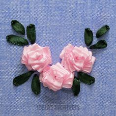 Ribbon pearl all over design for dress Diy Embroidery Patterns, Basic Embroidery Stitches, Hand Embroidery Videos, Embroidery Stitches Tutorial, Embroidery Flowers Pattern, Creative Embroidery, Simple Embroidery, Silk Ribbon Embroidery, Embroidery Kits