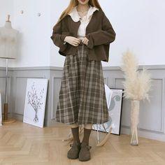 Frock Fashion, Skirt Fashion, Fashion Outfits, Dope Outfits, Pretty Outfits, Muslim Fashion, Korean Fashion, Beige Outfit, Minimalist Wedding Dresses