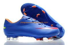 Cheap Nike Mercurial Vapor VIII FG Firm Ground mens leather Cristiano Ronaldo Didier Drogba soccer cleats blue red