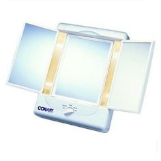Makeup Mirrors: Conair Double-Sided Lighted Makeup Mirror Tm7l BUY IT NOW ONLY: $40.54