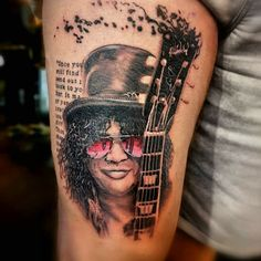 slash black and grey portrait tattoo on leg. realistic tattoo by Ricardo van 't Hof Leg Tattoos, Black And Grey, Skull, Van, Legs, Portrait, Headshot Photography, Portrait Paintings, Vans